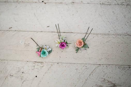 """Set troch kvetinových vláseniek """"v objatí dúhy"""""""