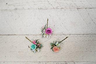 Ozdoby do vlasov - Set troch kvetinových sponiek \