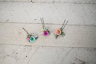 Ozdoby do vlasov - Set troch kvetinových vláseniek