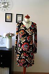 Šaty - Úpletové šaty kvetované - 7681296_