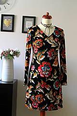 Šaty - Úpletové šaty kvetované - 7681300_