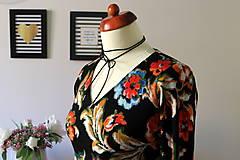 Šaty - Úpletové šaty kvetované - 7681301_