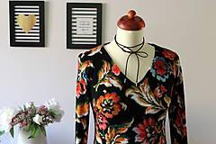 Šaty - Úpletové šaty kvetované - 7681306_