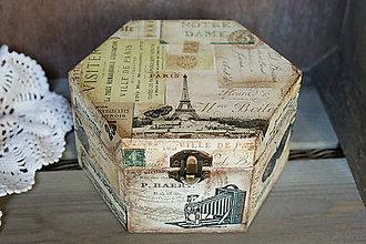 Krabičky - Drevená krabička Paris - 7678582_