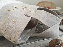 Úžitkový textil - Podšité vrecko na chlieb a pečivo z ručne tkaného ľanu 35x25 - 7681191_