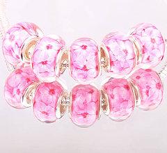 Korálky - Elegantná korálka na PANDORA náramok - ružové kvety - 7683949_