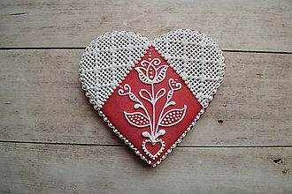 Dekorácie - Valentínske medovníkové srdce - 7684376_