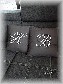 Úžitkový textil - Obliečky s písmenkom sivé - 7683713_