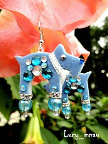 Náušnice - Náušnice havkovia modrí s bielym obojkom :) - 7683631_