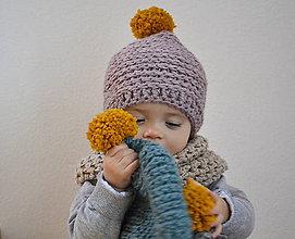 Detské čiapky - Mini...staroružová - 7683616_