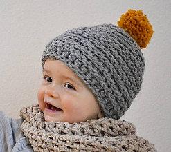 Detské čiapky - Mini...šedá - 7683655_