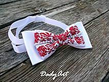 Doplnky - Svadobný motýlik -  červený FOLK - 7689087_