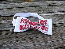 Doplnky - Svadobný motýlik -  červený FOLK - 7689098_