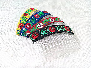 Ozdoby do vlasov - Folklore hair combs - 7689222_
