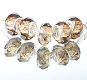 Korálky - Sklenená brúsená korálka na náramok PANDORA - dymová hnedá - 7688039_