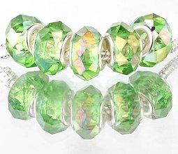 Korálky - Sklenená brúsená korálka na náramok PANDORA - zelená AB - 7688193_