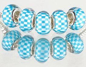 Korálky - Korálka na náramok PANDORA - modrá šachovnica - 7688413_