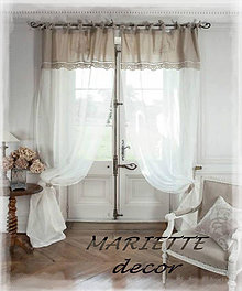 Úžitkový textil - Lněný závěs , záclonka ve francouzském stylu.. - 7688800_