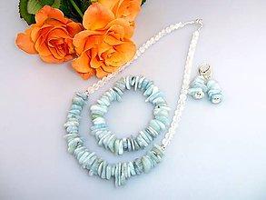 Sady šperkov - akvamarín náhrdelník náramok náušnice v striebre - 7688512_