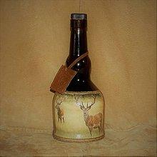 Nádoby - Fľaša pre poľovníka Jelene na lúke - 7686868_