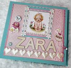 """Papiernictvo - Luxusný shabby fotoalbum pre bábätko """"Zara"""" - 7687340_"""