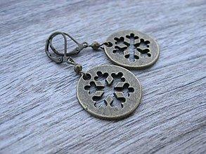 Náušnice - Kruhy (Kovové vločky bronzové č.681) - 7688070_