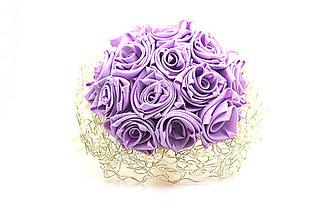 Kytice pre nevestu - Saténová svadobná kytica fialová ruže - 7688169_