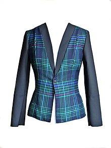 Kabáty - Modré tartanové sako - 7689330_