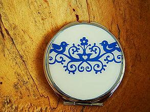 Zrkadielka - Zrkadielko do kabelky s modrým folk motívom - 7687152_
