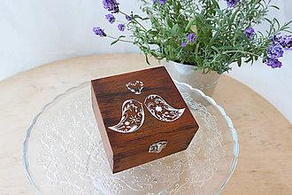 Prstene - Svadobná krabička orechová - 7688469_