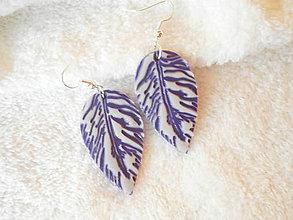 Náušnice - Náušnice z polyméru, pierka fialové - 7687337_