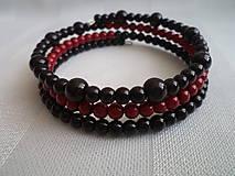Náramky - Čierna červená čierna - 7694339_