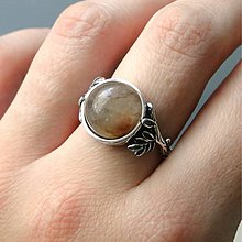 Prstene - Antique Leaves & Rutilated Quartz Silver ag 925 / Strieborný prsteň s prírodnými motívmi a s rutilom v krištáli - 7692076_
