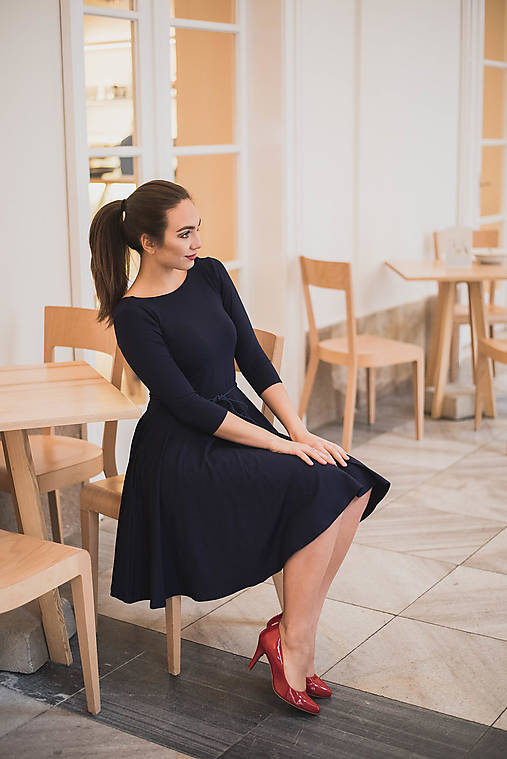 Šaty - Bamboo šaty Osudová Dorothea modrá - 7694018_