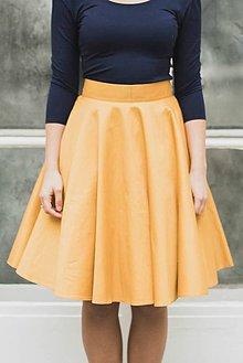 Sukne - Kolová sukně hořčicová - 7694350_