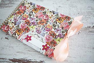 Papiernictvo - Kvety - scrapbook album s mašľou - 7691790_
