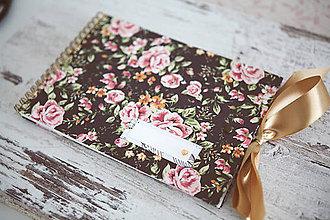 Papiernictvo - Ruže - scrapbook album /kniha hostí s mašľou - 7691919_
