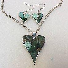 Sady šperkov - valentínska srdiečková sada 2 ( zelená) - 7691757_