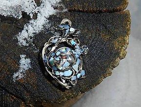 Odznaky/Brošne - flower rosa with opal - 7692724_