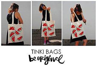 Nákupné tašky - Béžová plátená taška MELÓN - 7692283_