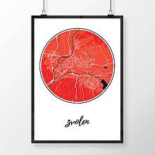 Grafika - ZVOLEN, okrúhly, červený - 7692110_