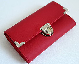 Peňaženky - Peňaženka červená celokoženková - 7694523_
