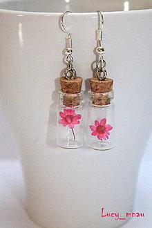 Náušnice - Sklenené náušničky-ružový kvet :) - 7694193_