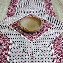 Úžitkový textil - Bordó na režnej - obrus štvorec 40x40 - 7691530_