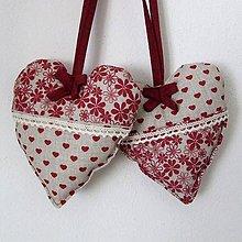 Úžitkový textil - Bordó na režnej - srdiečko 13x13 - 7691635_