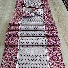 Úžitkový textil - Bordó na režnej - stredový obrus 180x39 - 7691892_