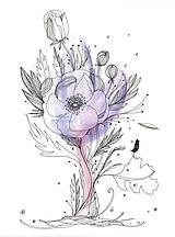 Obrázky - Kvetiny V, akvarel, kresba - 7691756_