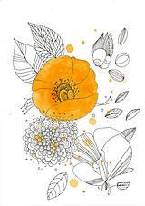 Obrázky - Kvetiny VI, akvarel, kresba, obrázok - 7691840_