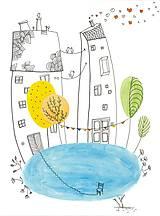 - Funny houses 3, akvarel, kresba - 7691974_