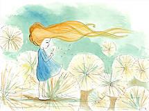 Obrázky - Girl with a dandelion, akvarel, kresba - 7692059_